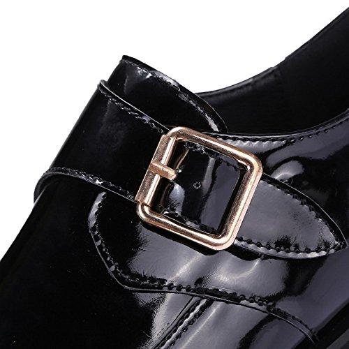 VogueZone009 Femme Pu Cuir à Talon Bas Rond Couleur Unie Boucle Chaussures Légeres Noir