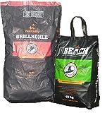 BlackSellig 10 Kg Beach Kokos Grill Briketts + 10 Kg Steakhouse Kohle perfekte Profiqualität - REACH registriert