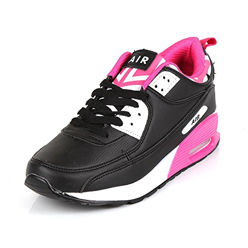Ladies Running Trainers Air Shock Absorbing Fitness Gym Sports Shoes Size 2-7 (Black & Pink, 6)
