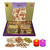 #9: Emazing Gourmet - UPHAAR - Dry Fruit Gift Pack - Almonds , Cashew , Raisins , Mixed Mewa , Pistachio & Apricot ( 50 Grams Each ) - -Combined with 2 Multicolor LED DIYA