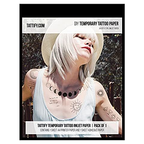 Tattify DIY Temporary Tattoo Paper 1 Pack For Inkjet Printers, Printable Long Lasting Custom Tattoos At Home, Sticker Transfer Sheets With Clear Instructions, Waterproof And Sweat