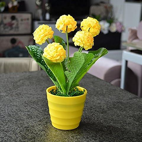 Lx.AZ.Kx Ortensia fiori e piante artificiali il kit delle decorazioni floreali di fiori di emulazione di un idilliaco di fiori di seta fiore tavolo salotto mobili con motivi floreali Arts,sfera giallo + giallo Round Pot