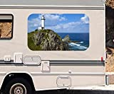 3D Autoaufkleber Leuchtturm Klippe Meer Japan Felsen Wohnmobil Auto KFZ Fenster Motorhaube Sticker Aufkleber 21A365, Größe 3D sticker:ca. 161cmx 96cm
