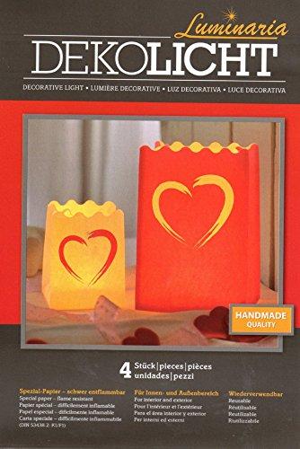 Wenko Luminaria cuore Brushstroke portacandela antivento, Set da 4pezzi, carta, cartone, cellulosa, design 8584100