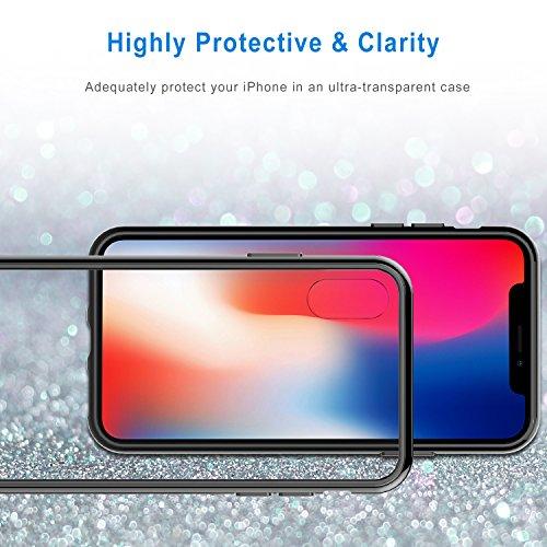 JETech Cover per iPhone XS e iPhone X, Trasparente Custodia con Paraurti Assorbimento degli Urti e Anti-Graffio, Nero
