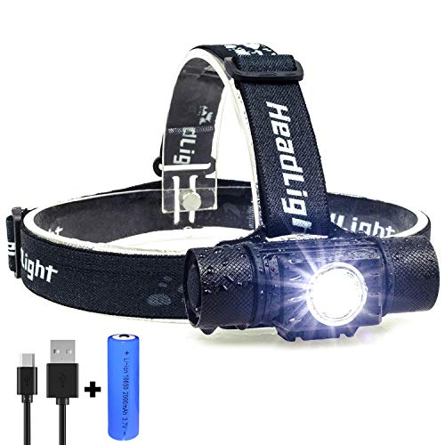 LED Stirnlampe, USB Wiederaufladbar Kopflampe, Super Helle IP65 Wasserdicht Leichtgewichts Stirnlampe,LED CREE XPG2 S3 600 Lumen 5 Lichtmodi Enthält eine Batterie, für Camping/Wandern/Joggen (Stroboskop-lichter Für Motorräder)