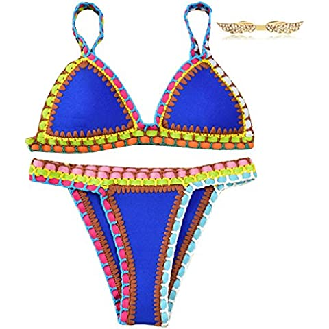 BYD Mujeres Bikinis Conjuntos Push Up Croché Bañador Coloridos Ropa de baño Neopreno 2pcs Tops +