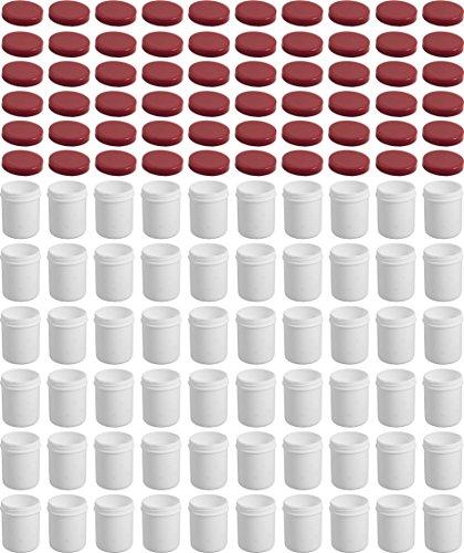 60 Salbendöschen, Creme-döschen, Salbenkruke hoch, 35ml Inhalt, mit rotem Deckel - MADE IN GERMANY