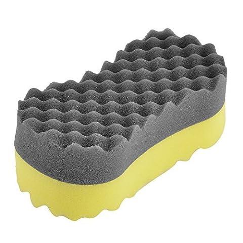DealMux Auto Black Yellow Bone Shape Wax Buffing Polishing Sponge Pad Cleaner