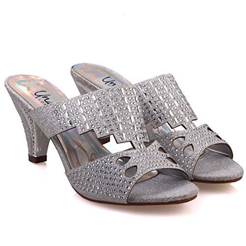 Unze Sandales slipons Mode Femmes de Candice ' Argent