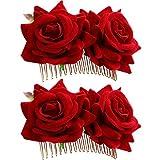 2 Pièces Rose Pince à Cheveux Fleur Femmes Rose Fleur Accessoires de Cheveux de Mariage Clip de Cheveux Danseur de Flamenco (Rouge)...