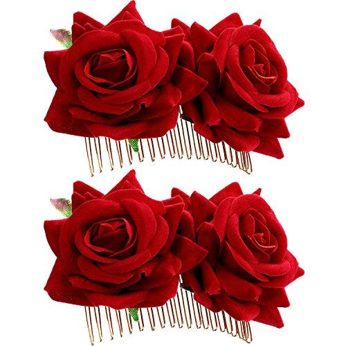 2 pezzi rosa fermaglio per capelli donne accessori per capelli fiore rosa matrimonio molletta ballerina di flamenco (rosso)
