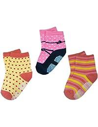 BOMIO | ABS Socken in farbenfrohem Design 3er Pkg. Mädchen | Antirutsch Baby-Söckchen aus hautfreundlichem Material | Stoppersocken | Hervorragende Passform