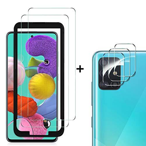MSOVA Verre Trempé +Caméra Arrière Protecteur pour Samsung Galaxy A51, Anti Rayures Film Protection écran [Dureté 9H][sans Bulle] Verre trempé pour Samsung Galaxy A51 (Pack de 2)