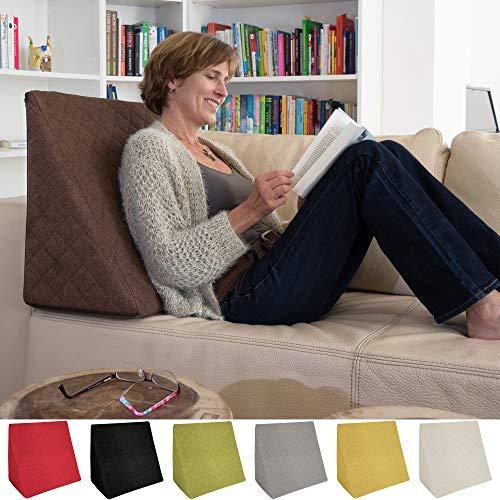 Sabeatex® Rückenkissen, Keilkissen für Couch und Sofa, Lesekissen für bequemes Sitzen. 5 Unifarben für trendiges Wohndesign. Louge-oder Palettenkissen Größe 60 cm x 50 cm x 30 cm (braun) -
