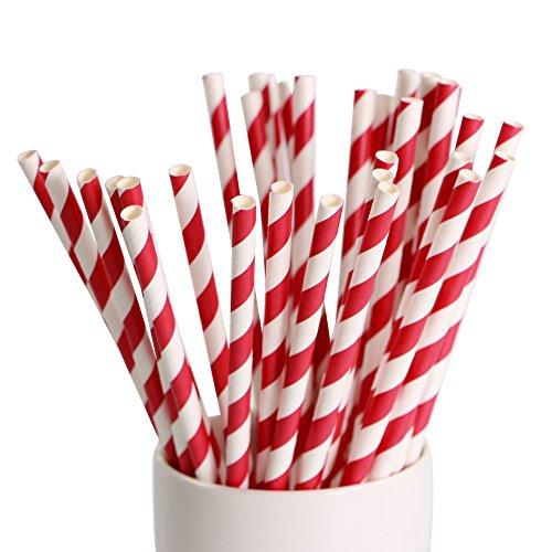 et Papier Trinkhalme Papierhalme für Geburtstag Hochzeit Weichnachten Kinder Party - Rot- Weiß (Weiße Trinkhalme)