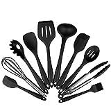 Das perfekte Küchenhelfer Set - 10 teiliges Premium Silikon Küchen Utensilien Set - Grillzange, Schneebesen, Silikonpinsel, Teigschaber, Schaumlöffel, Löffel Nudeln, Kelle, Suppenlöffel - Hitzebeständiges Koch- und Backzubehör von Y-Mai