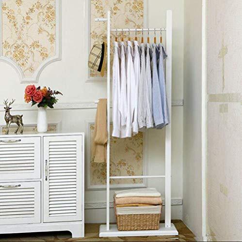 MYPNB Garderobe Kleiderständer Kleiderbügel anschließen Europäische Kiefer Zimmertür gegen die Wand Einfache multifunktionale Garderobe Boden Massivholz Schlafzimmer Kleiderbügel (Color : White)