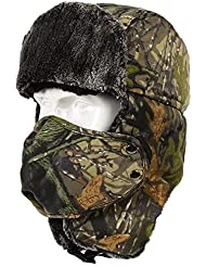 CyberDyer Camo Winter Trooper Hat Unisex Russian Style Faux Fur Hat Super Warm Ushanka Hat With Windproof Face Mask