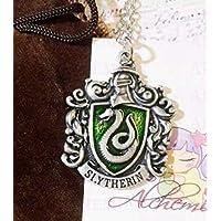 Serpeverde collana medaglione con stemma Slytherin, Harry Potter Hogwarts inspired