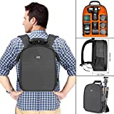 Neewer® flexible partition camera padded backpack, bag shock insert protection, for SLR DSLR mirrorless cameras and lenses, flash light, radio releases and other accessories, orange interior