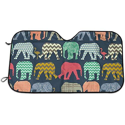 Bing Bo-Car Sun Shade Elefante Flamingo Lámina Parabrisas Parabrisas Sombrilla Plegable Sombrilla para automóvil_Portable Mantenga el vehículo Fresco- (70 * 130 cm)