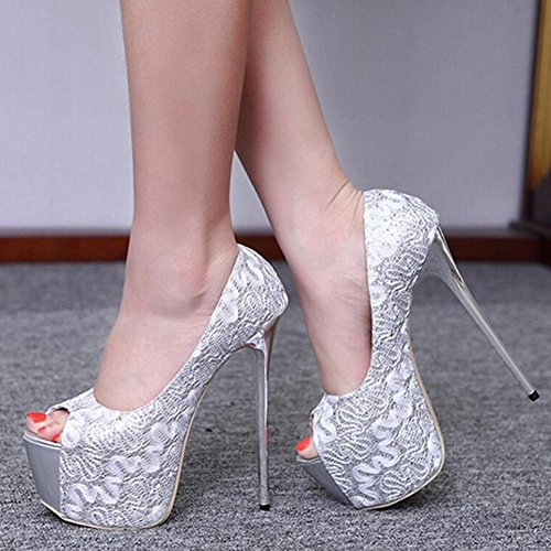L@YC Talons hauts sexy pour femme Peep Toe Pumps Party Shoes noir silver