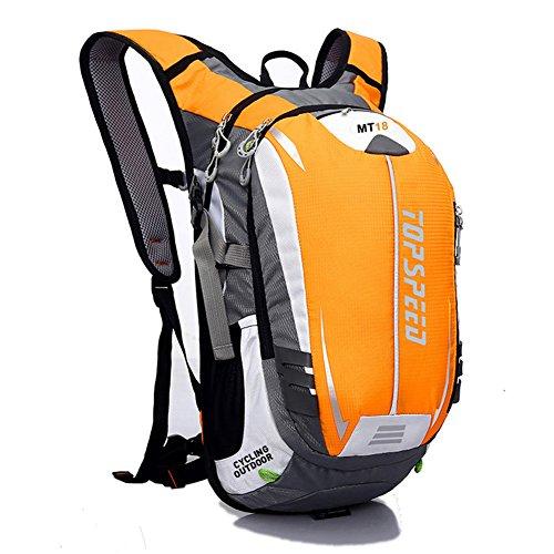 West Biking Rucksack zum Radfahren, Joggen, Wandern, strapazierfähig und leicht, wasserbeständig mit vielen Taschen, Rückenmassagesystem und einzigartigem Helmnetz Yellow
