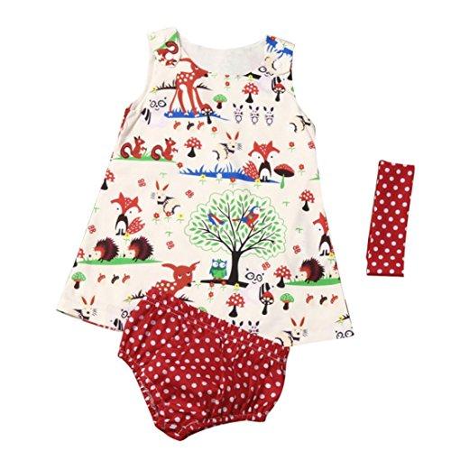 y Säugling Mädchen Wälder Punkt Kurze Hose Hose Stirnband Kleider Fröhliche Weihnachten (Säugling Tiger Kostüme)