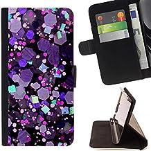 """For LG G4c Curve H522Y (G4 MINI), NOT FOR LG G4,S-type Crystal púrpura del hexágono Brillante"""" - Dibujo PU billetera de cuero Funda Case Caso de la piel de la bolsa protectora"""