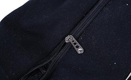 Minetom Donne Grande Spiaggia Borsa Shopper Handbag Classico Striscia Borsa Nero Grande