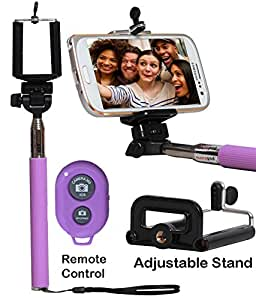 Selfie Stick Monopod With Bluetooth Remote Wireless Shutter Connectivity Compatible For LG L80-PURPLE