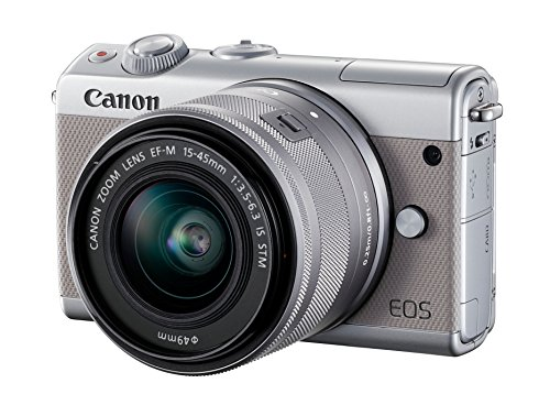Canon EOS M100 Systemkamera (24,2MP, 7,5 cm (3 Zoll) Display, WLAN, NFC, Bluethooth, Full HD) Double Zoom Kit mit EF-M 15-45 mm f/3.5-6.3 IS STM und EF-M 55-200 mm f/4.5-6.3 IS STM grau