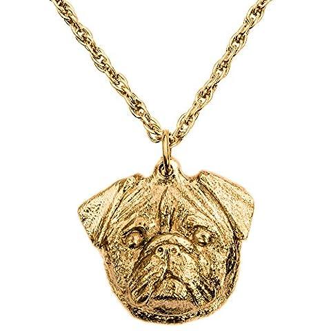 Mops (Kopf) Hergestellt in U.K. Kunstvolle Hunde- Anhänger Sammlung (22 Karat Vergoldung / gold plattiert)