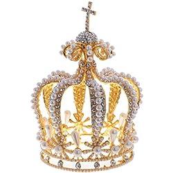 MagiDeal Corona de Aleación y Perla Artificial de Reina Estlo Barroco Accesorio de Pelo de Fiesta de Carnaval de Boda Color de Oro/Plata - Oro