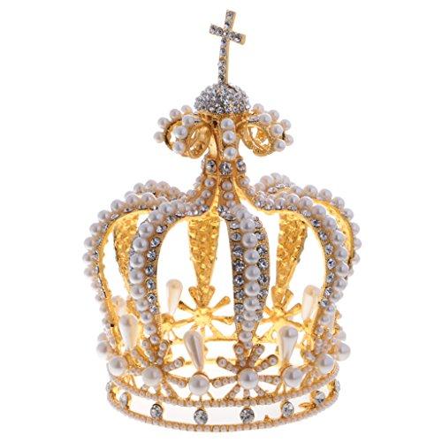 MagiDeal Vintage Barock Königinnen Diademe Krone Tiara Hochzeit Kopfstück Karneval Kostüm - Weiß Gold