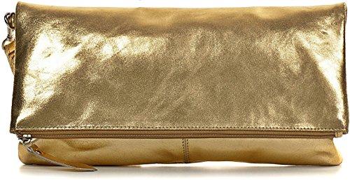 CNTMP, Damen Handtaschen, Clutch, Clutches, Clutchbags, Unterarmtaschen, Partybags, Trend-Bags, Metallic, Leder Tasche, 32x17x2,5cm (B x H x T), Farbe:Gold (Bag Clutch Leder)