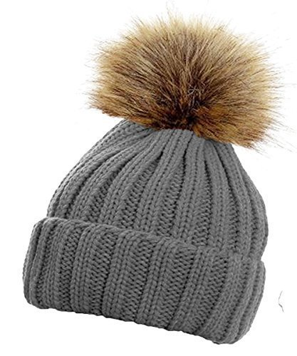 TOSKATOK® Femmes hiver Rib Bonnet / Beanie avec Chunky détachable en fausse fourrure Bobble Pom Pom - disponible en 10 couleurs