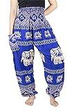 Lofbaz Damen Haremshose mit gesmoktem Bund Elephant 2 Blau 2XL