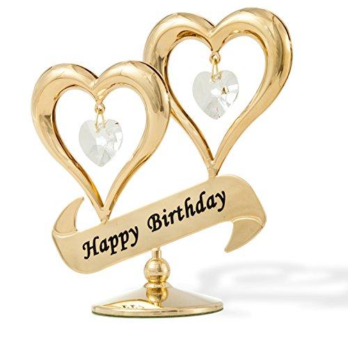 Matashi 24 Karat vergoldetes Kristallherz mit Banner-Ornament, tolles Geschenk für Valentinstag, Muttertag, Jahrestag, Weihnachten, Geburtstag Herzlichen Glückwunsch zum Geburtstag (Weihnachten Vergoldete Ornamente)