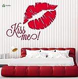 fancjj Vinyl Wandtattoo Kiss Me Lip Print Romantisches Schlafzimmer Nachttisch Home Art Dekoration...