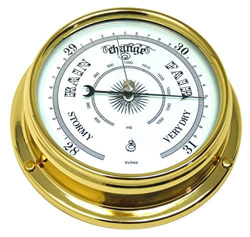 Tabic Barómetro tradicional de latón, latón lacado pesado 1/2 kg, instrumento meteorológico, reloj...