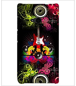 PrintDhaba Guitar D-4617 Back Case Cover for MICROSOFT LUMIA 535 (Multi-Coloured)