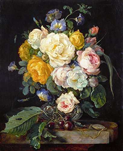Il Museo outlet–Still Life con fiori, ciliegie e un orologio–1655–Poster Print online (A3Poster)