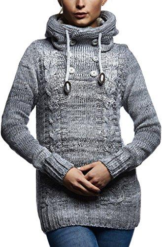 LEIF NELSON Damen Pullover Hoodie Kapuzenpullover Strickpullover Jacke Langarm Shirt Sweatjacke Sweater Schalkragen Strick LN20227D; Größe M, Grau