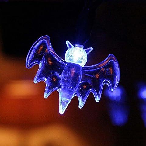 LEDMOMO Batteriebetriebene LED Fairy String Lights 10 Bat Dekorative Lichter für Halloween Party Indoor Outdoor (blau)