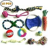 Hundespielzeug, 10PCS Hunde Baumwollseil Spielzeug, haltbares ungiftiges Baumwolltau, helle Farbe, wechselwirkende Spielwaren und Kauspielzeug, verwendbar für das Reiben oder das Säubern der Zähne, kleines und mittleres Hundespielzeug