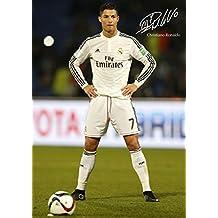 Cristiano Ronaldo # 42–Motivation–Signé (Copie) A3Poster–World Lecteur de l'année–Football–Logo Real Madrid Fond–poster–A3–Photo