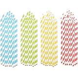 PEARL Gestreifte 100 Retro Papier-Trinkhalme in 4 Farben, lebensmittelecht