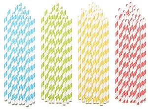 PEARL Papiertrinkhalme: 100 Retro Papier-Trinkhalme in 4 Farben, gestreift, lebensmittelecht (Strohhalme)